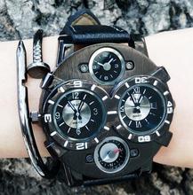 Fashion Mens Watch Top Brand Luxury Women Quartz Watch Leather Military Sports Wrist Watch Wristwatch Large Dial Cool Trendy