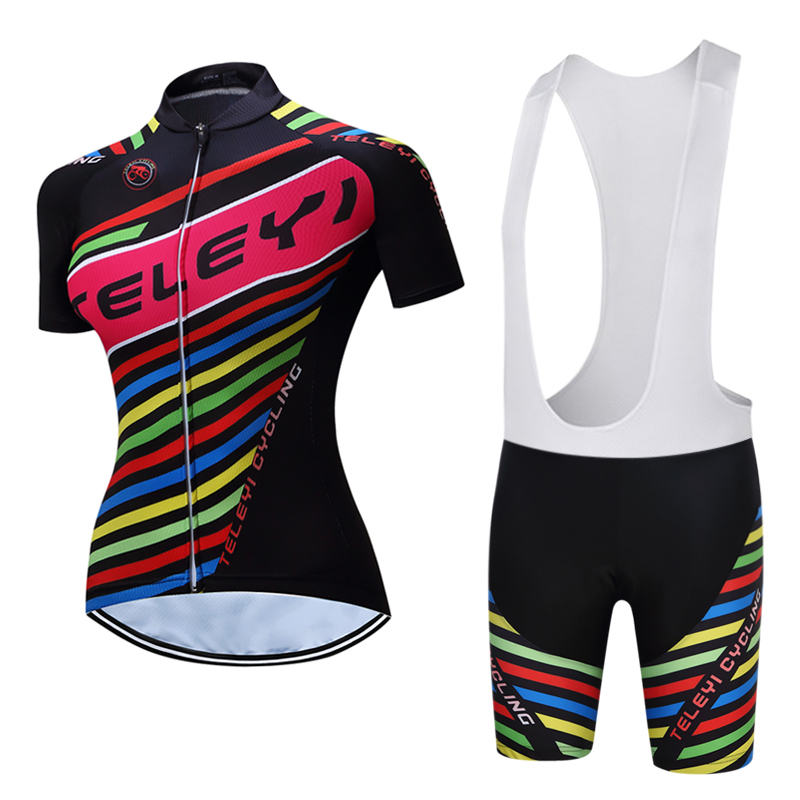 TELEYI China Team 2018 Summer Women Bicycle Clothes Sets Female Road Bike Clothing Kits Riding Dress Cycle Maillot Sports Wear