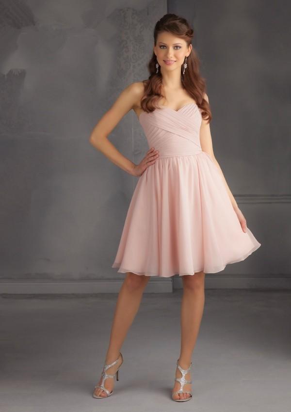 Chiffon Dress Knee Length Sweetheart Neck Sleeveless 2017 Bridesmaid Dresses Light Pink 3