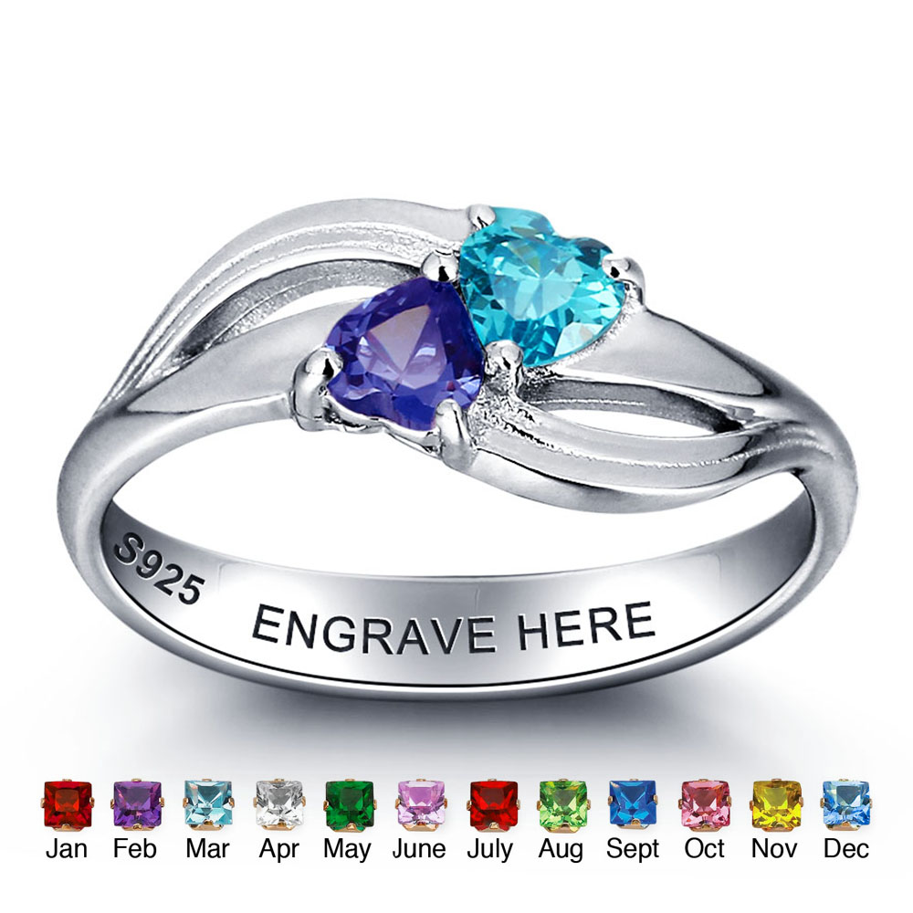 Personalized 925 Sterling Silver Birthstone Ring Heart Mother Rings With Names Birthday Gifts For Mom (RI101974) цена