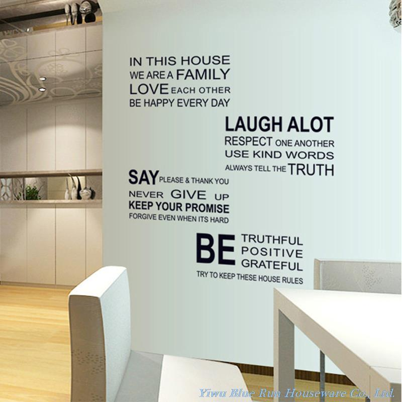 Aliexpress.com : Buy We Are Family Wall Decals Quotes Wall Stickers Home  Decor Living Room House Rules Vinyl Removable Home Decorations Wallpaper  From ... Part 49