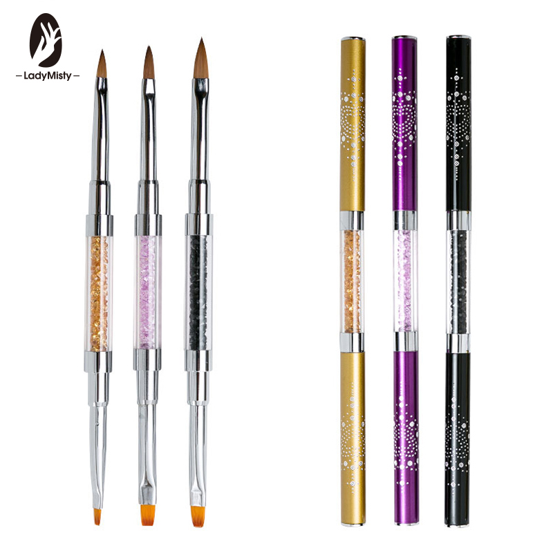 Ladymisty  Professional Nail Art Tool Flat Drawing Builder Nail Brush Rhinestone Pen Nail Art Manicure Tools Manicure