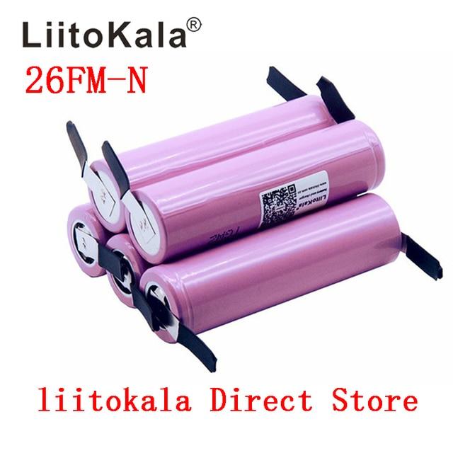 Liitokala New 100% Original 18650 2600mah battery ICR18650 26FM Li ion 3.7V rechargeable battery+ DIY Nickel sheet