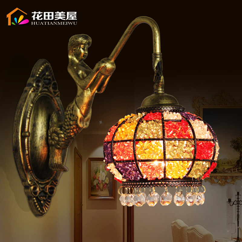 tiffany fashion European style wall lamp Baroque Bohemia Mermaid mirror light fashion rustic bed-lighting lamps tiffany baroque sunflower stained glass iron mermaid wall lamp indoor bedside lamps wall lights for home ac 110v 220v e27