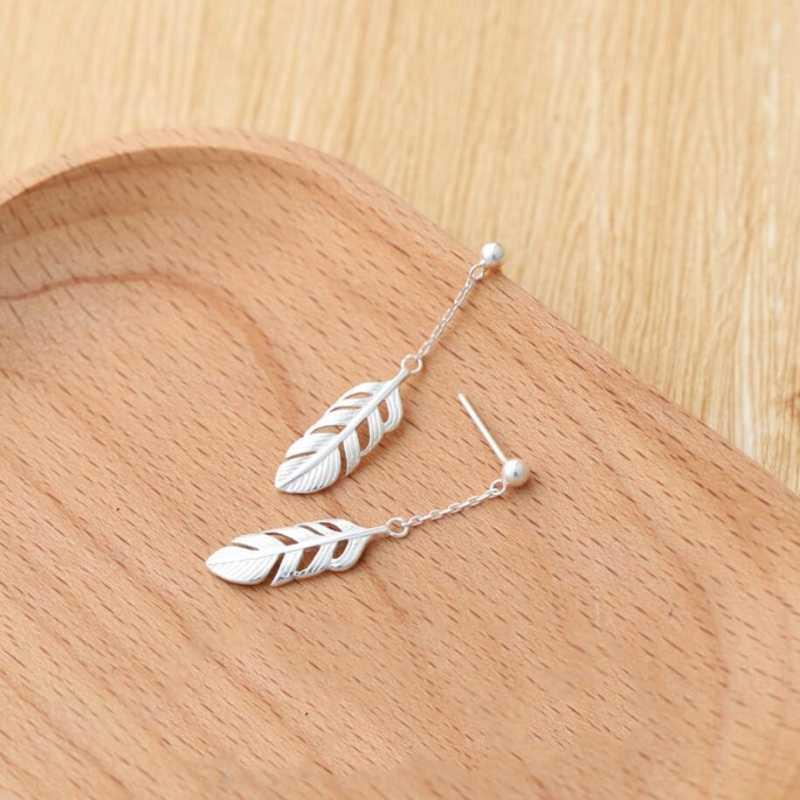Корея Сладкий перо Короткие творческие стерлингового серебра 925 темперамент личности модные женские серьги-гвоздики SEA119