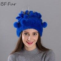 Doğal Düz Renk Vizon Kürk Şapka Rahat Kadın Kış Sıcak Beanies Kızlar Hayvan Moda Mor Kap Yetişkin Tarzı kadın Bonnet