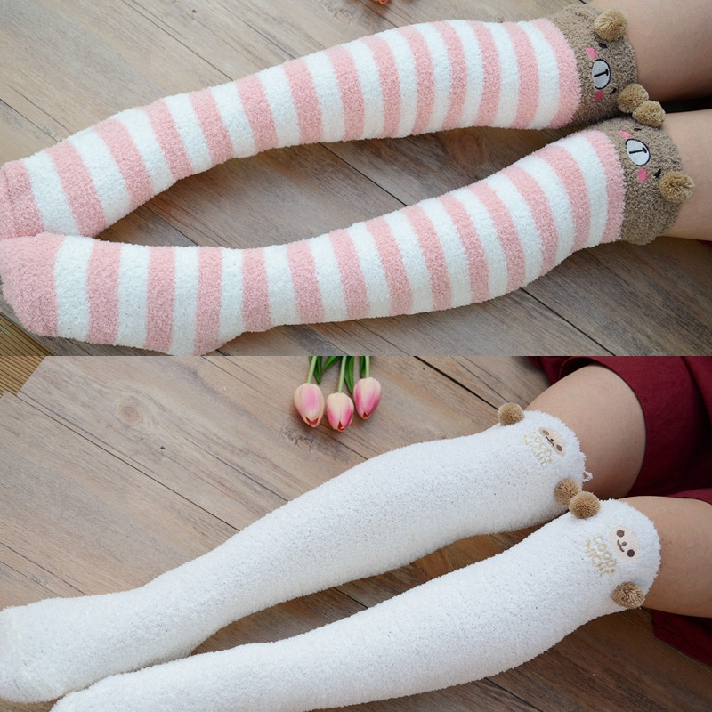 Winter Warm Stockings Kawaii Bear Sheep Sweet Women Thigh High Stockings Girls Thicken Over Knee Lovely Stockings