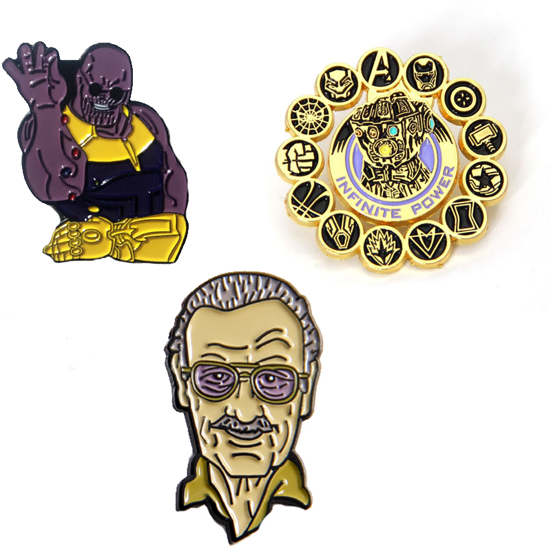 Stan Lee Enamel Pin Brooch Cosplay Props Alloy Thanos Infinity Gauntlet Badge Unisex Accessories Avengers 4 Endgame Brooches