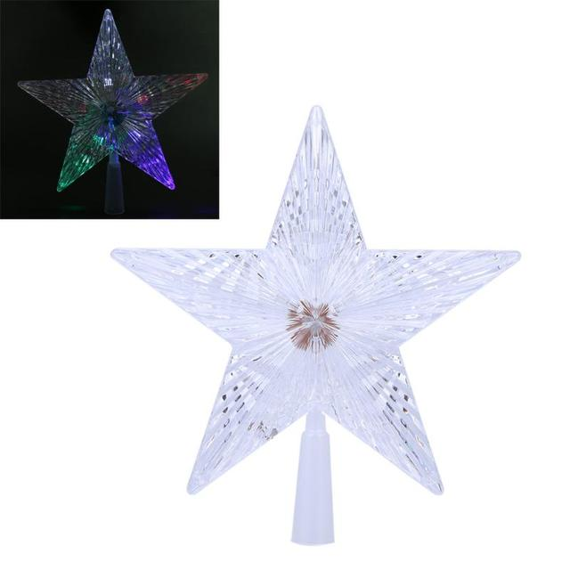 Five Pointed Star Shape Light Creative Holiday Party Decorations LED Lights Christmas Tree Top