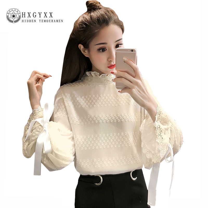 Bow Flare Sleeve Autumn Chiffon Blouse Shirt 2018 Women Elegance Patchwork Lace Tops Loose Ruffles Stand Collar Blusas Okb842