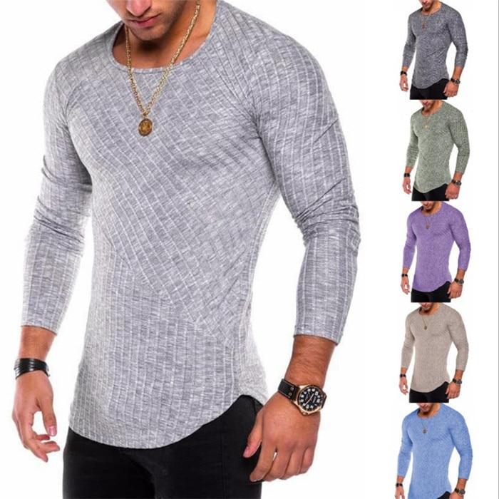74553eabf57c05 買取 男性の長袖 Tシャツ 2018 ピットストライプ無地スプライシング円弧底ラインプルオーバー O の Tシャツ 通販 価格