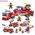 348pcs Fire Fighting Car Plane Boat Building Blocks Compatible With LegoINGly City Firefighter Figure Bricks For Children Toys