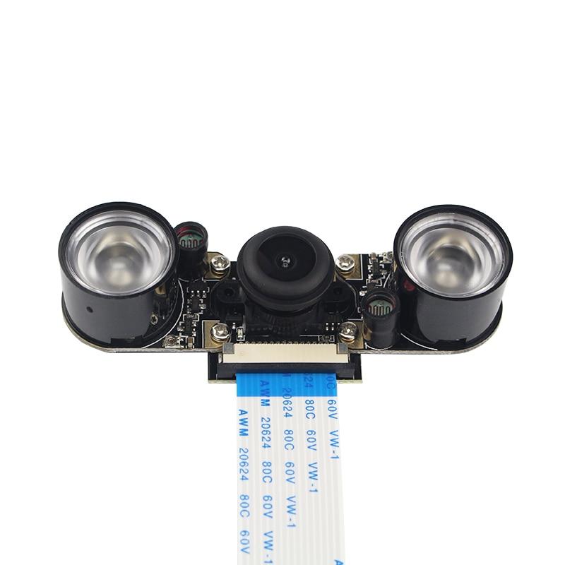 цена на Raspberry Pi 3 B+ Camera Night Vision Wide Angle Fisheye Lens 5 MP Camera +2 Infrared Sensor Light + 15cm FFC for Raspberry Pi 3
