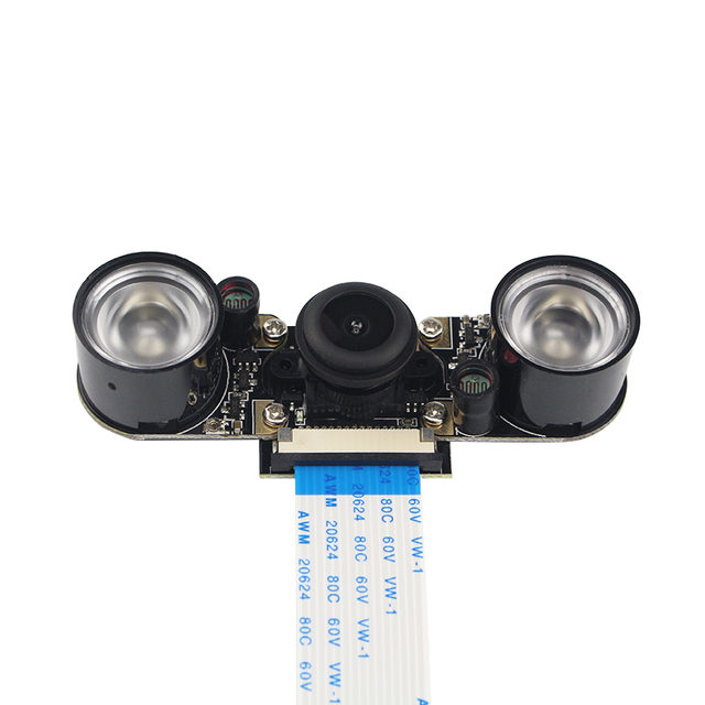 Raspberry Pi 3 Caméra Night Vision Grand Angle Fisheye Lentille 5 MP Appareil Photo + 2 pcs IR Capteur LED Lumière + 15 cm FFC pour Raspberry Pi 2