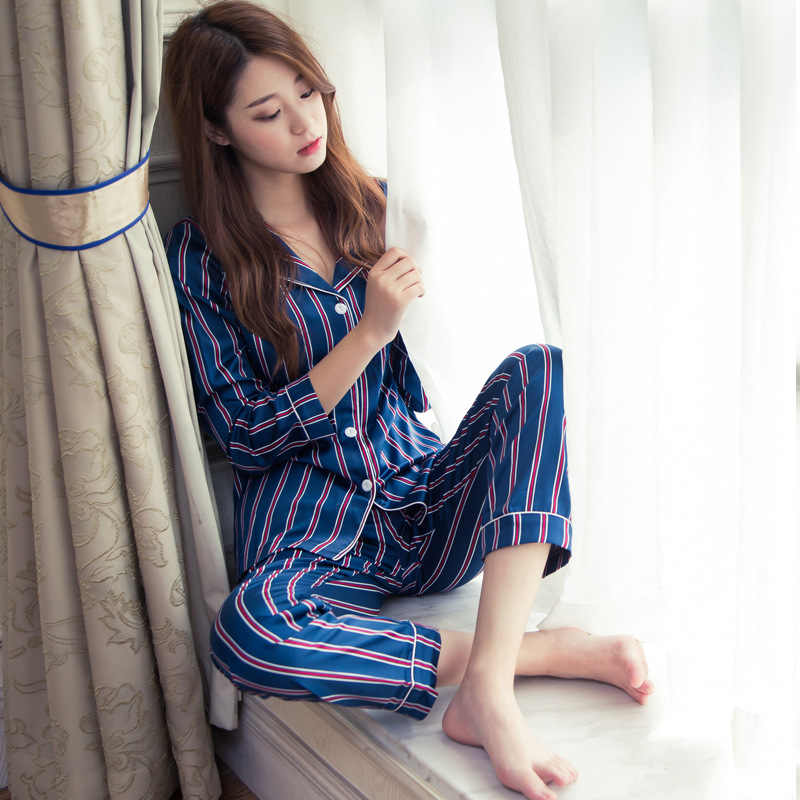 Spring Women Silk Elegant Pajamas Sets With Pants Female Satin Striped  Print Pyjama Sleepwear Soft Comfortable e771941ea
