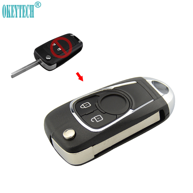 OkeyTech 2/3 Buttons Modified Flip Folding Car Key Shell Replacement Cover Case Fob for Opel Insignia Astra For Chevrolet Cruze