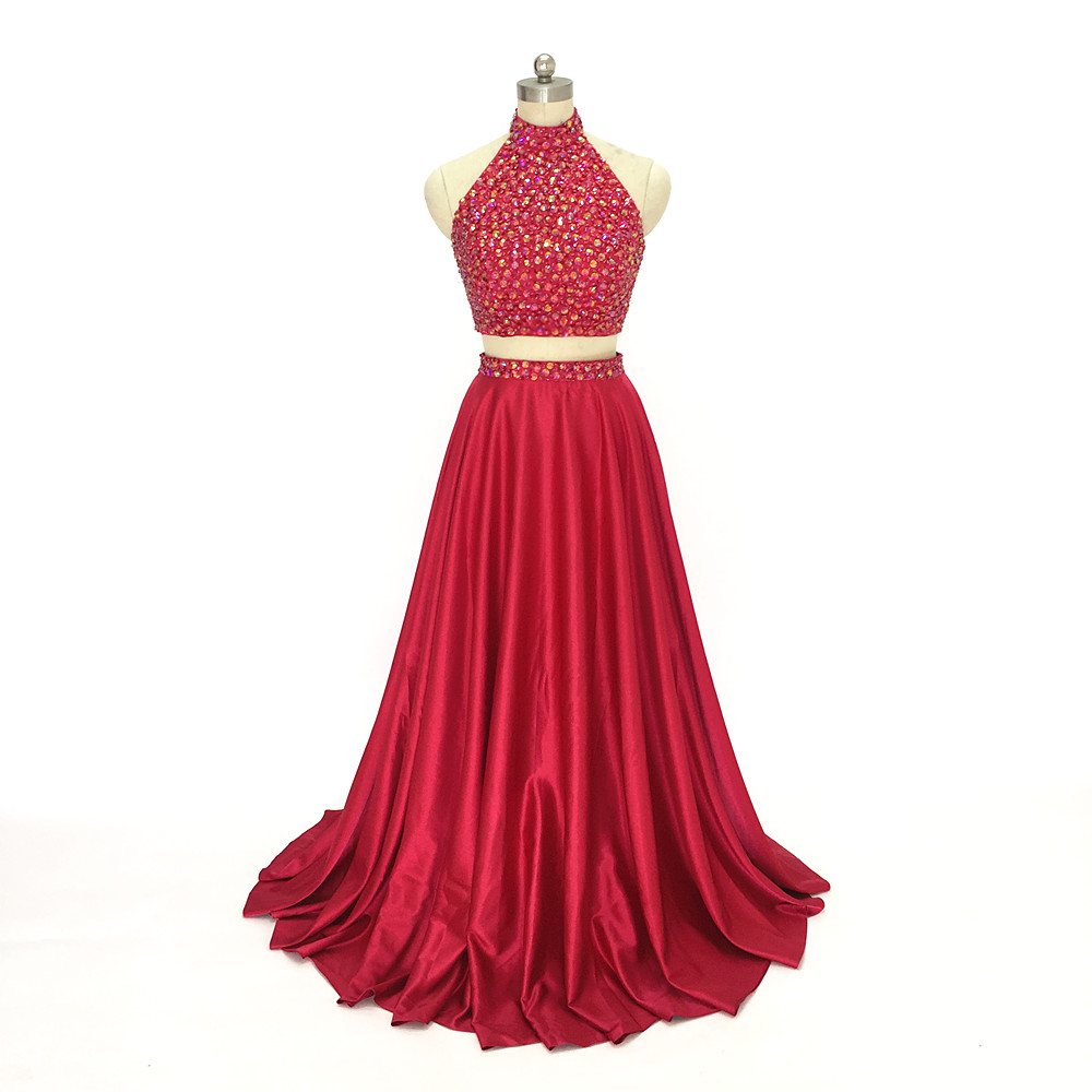 Long Burgundy 2 Pieces Prom Dress 2017 High Neck Beaded 2017 long evening dresses off the shoulder party dresses free shipping