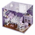 1:32 Handmade Miniature Dollhouse DIY Doll House Toys With Furnitures Assembling Dreaming Model Kit With LED Sweet Sunshine