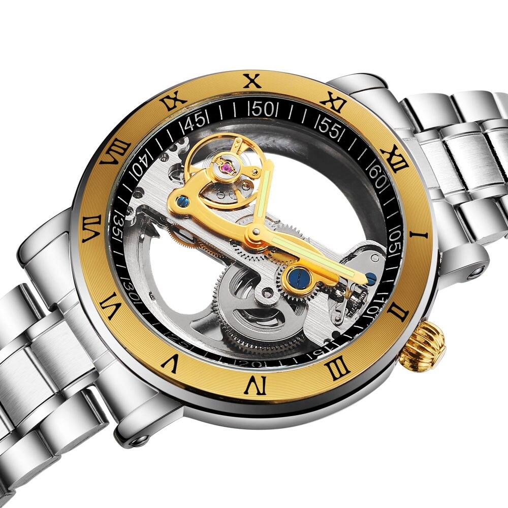 Новый мужской турбийон часы 3ATM водостойкие Роскошные прозрачные чехол из нержавеющей стали группа мужской механические часы Relogio Masculino