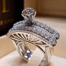 Luxury Female Big Zircon Stone Ring Set Crystal 925 Silver Bridal Ring Promise Engagement Rings For Women 2019 New Year Gifts(China)