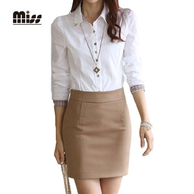 8912d09a5f Señorita XXL 2016 nueva moda primavera mujeres blusas blancas camisas de  trabajo a largo de la