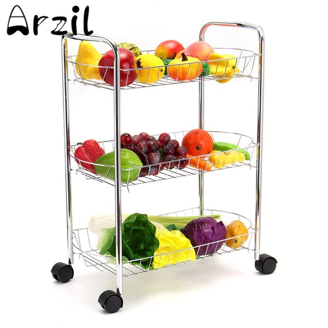 Metal 3-Tier Heavy Duty Kitchen Trolley Multifunction Utility Kitchen Storage Cart With Wheels Easy  sc 1 st  AliExpress.com & Metal 3 Tier Heavy Duty Kitchen Trolley Multifunction Utility Kitchen Storage Cart With Wheels Easy Moving Silver-in Racks u0026 Holders from Home u0026 ...