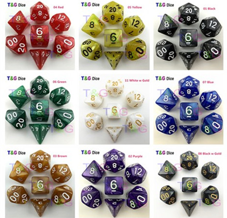 7pc/bag High Quality Multi-Sided Dice With Pearlized Effect D4,6,8,10,10%,12,20 dice sets ,RPG   Dungeons and Dragons Game  Dice