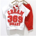 Digital 369 Baby Boys Clothes Sets 2-4years White With Red Pants Children's Tracksuits Cheapest Thin Summer Suit