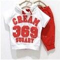 Digital 369 de los bebés arropa sistemas 2-4 años blanco con pantalones rojos niños de los chándales de más barato del verano delgada
