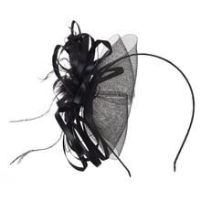 MYPF-Feathers Organza Pink Flower Mesh Headband Black Fashion Party