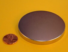 NdFeB Disc Magnet  2 1/2 dia.x1/4 thick Neodymium Permanent Magnets Grade N42 NiCuNi Plated Axially Magnetized EMS SHIPPED trouble magnet 2