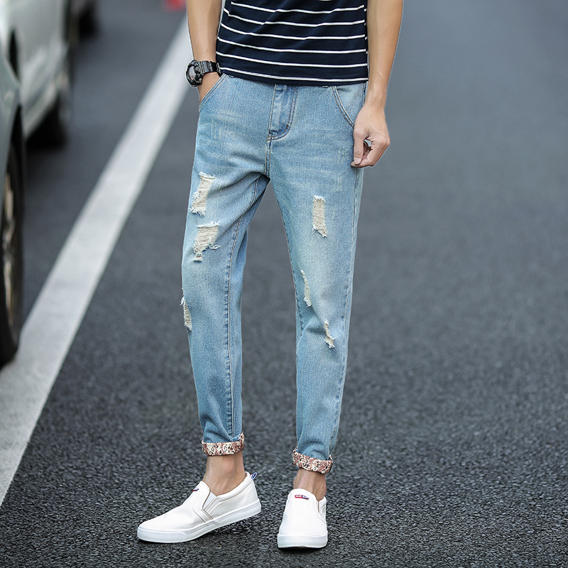New 2017 Summer Men Jeans Pants Ankle-Length Ripped Jeans Men Floral Ruched Casual Jeans Male Blue Straigth Men's Denim Pants envmenst 2017 male floral bottom blue hole ankle length jeans men s jeans casual zipper straight denim trousers size 28 40
