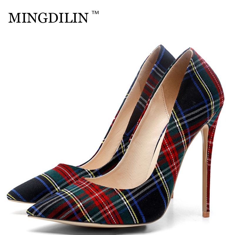 MINGDILIN Women's High Heels Shoes Denim Plus Size 33 43 Sexy Woman Shoes Black Red Pointed Toe Wedding Party Pumps Stiletto mingdilin stiletto women s golden pumps wedding high heels shoes plus size 43 party woman shoes fashion sexy pointed toe pumps