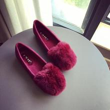 high quality! 2016 autumn and winter Korean flat with women's shoes rabbit hair frosted round flat Maomao shoes, free shipping!