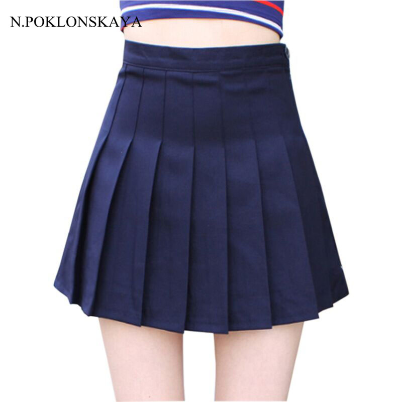 Ladies Pleated Mini Skirt New Falda Mujer Cute Summer high waist Women Skirts womens Saias Femininas lolita rokken Jupe HASD