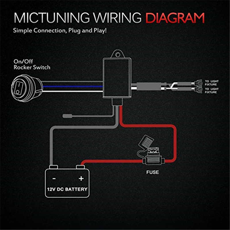 MICTUNING Car LED Work Light Bar Wiring Harness 40Amp Relay Fuse ON-OFF-Strobe on harley-davidson motorcycle diagrams, golf cart schematics or diagrams, relays diagrams,