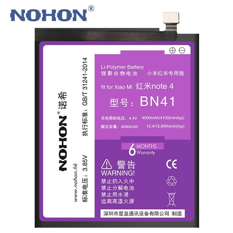 Оригинальный nohon Батарея для Xiaomi Redmi Note 4 <font><b>BN41</b></font> 4100 мАч встроенный телефон высокое Ёмкость Hongmi Note4 литий-полимерный Инструменты + Упаковка