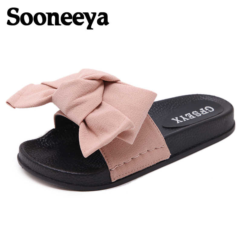 afdd91e48a30f Sooneeya Big Size 44 Woman Bow Shoes Slippers Butterfly Women Sandals  Bowtie Flats Mules Summer Ladies