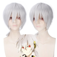 MekakuCity Actors Konoha haruka 35cm Short Straight Cosplay Wigs for Man Boys Japanese Anime Wig High Quality White