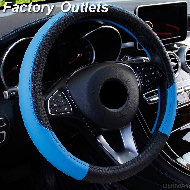 Car Steering Wheel Covers 37-38cm Universal PU Leather Steering-wheel Cover Automobiles Anti-slip Four Seasons Auto Accessories(China)