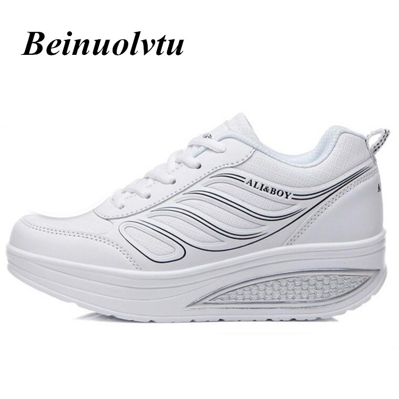 Women Running Shoes 2017 White Platform Sneakers Women Sports shoes Trend Height Increasing Shoes Athletic Girls