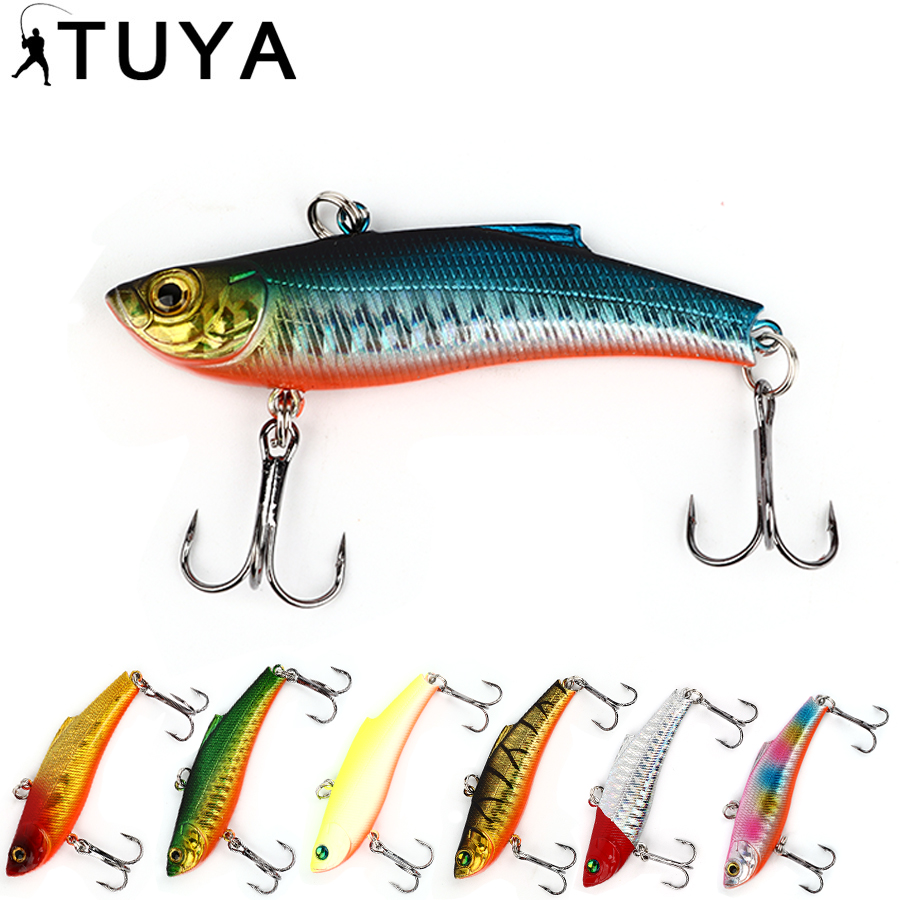 TUYA 1pcs Sinking VIB Fishing Lure Minnow artificial bait Vibration Winter ice Full Swimming Layer Hard Bait bass 7.3cm 18.95g