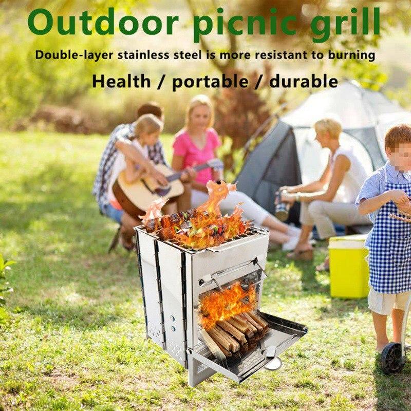 Portable extérieur pliant en acier inoxydable poêle à bois Camping poêle à bois sac à dos survie cuisson pique-nique chasse barbecue