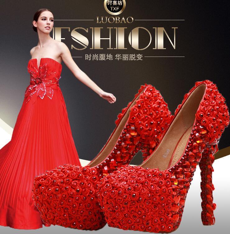 R-free shipping vogue sexy white red wedding shoes women platform pumps girls cowhide leather rhinestone flower bride heels