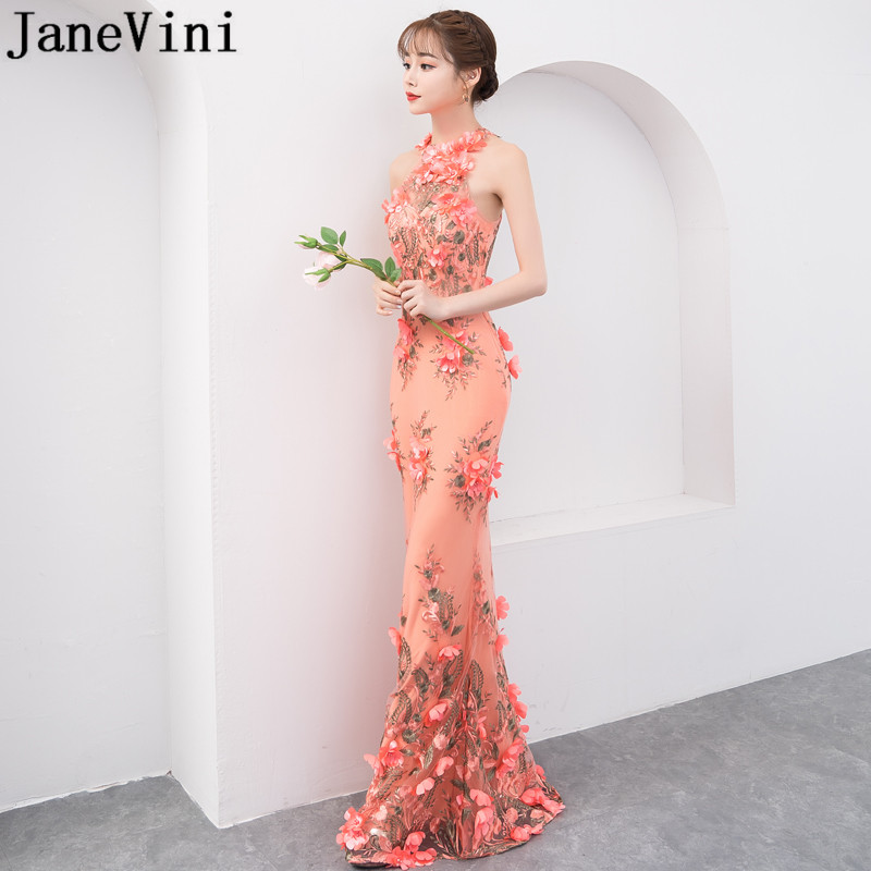 JaneVini Elegant Handmade Flowers Women Wedding Party Dress Mermaid Halter Tight Fitted Long Bridesmaids Dresses Vestitini Donna