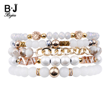 BOJIU 5 Pcs/Set Multilayer Women Bracelets White Crystal Glass Hematite Beads Chain Rondelle Charm Femme Gift BCSET248