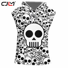 88140555641f CJLM Men s Sleeveless Hooded T-shirts Punk Style Full Print Skulls 3d Vest With  Hood Hombre Slim Fit Bodybuilding Fitness Shirts