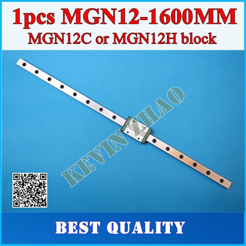 12ミリメートルリニアガイドmgn12 l = 1600ミリメートルリニアレールウェイ+ mgn12cまたはmgn12hリニア台車cnc xyz軸  グループ上の 家のリフォーム からの リニアガイド の中 1