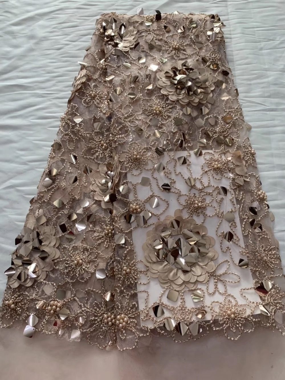 Latest Sequins Beads French Lace Fabrics 2019 Rose Gold High Quality African Tulle Lace Fabric For
