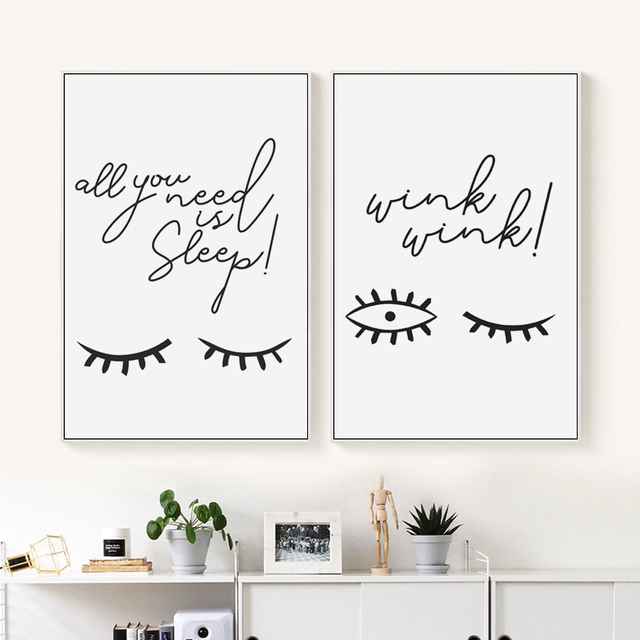 Us 2 89 41 Off Elegant Poetry Abstract Eyes Blink Black And White Simple Canvas Painting Art Print Poster Picture Wall Paintings Home Decoratio In